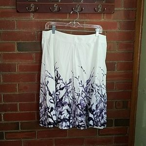 Coldwater creek white skirt with purple pattern, M